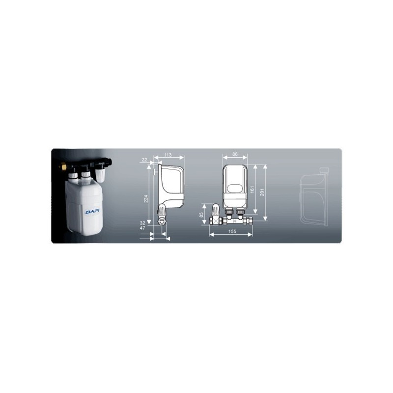 dafi water heater 7 3 kw 230 v with pipe connector under sink. Black Bedroom Furniture Sets. Home Design Ideas