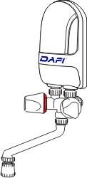Dafi water heater over sinks white tap