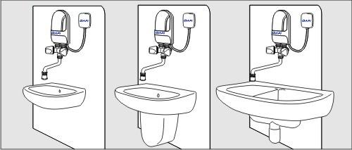 Dafi water heater over sinks
