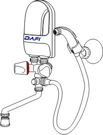 Dafi water heater with a spiral hygienic set white