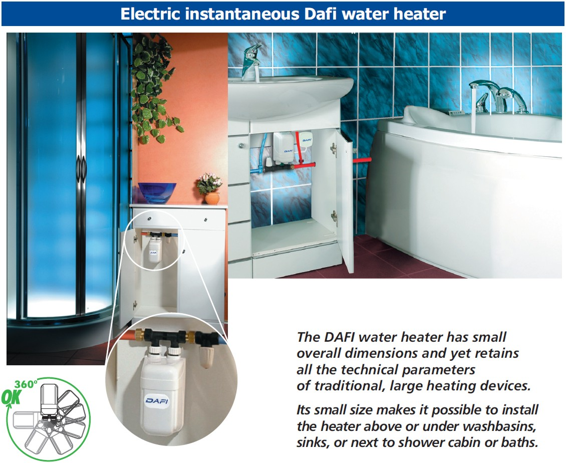 In Line Instant Hot Water : Dafi in line under sink water heater tankless electric