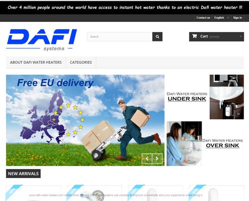 Water heaters Dafi online store, in our store you will find Dafi water heaters, accessories and spare parts for flow water heaters mounted over the sink and under the sink.