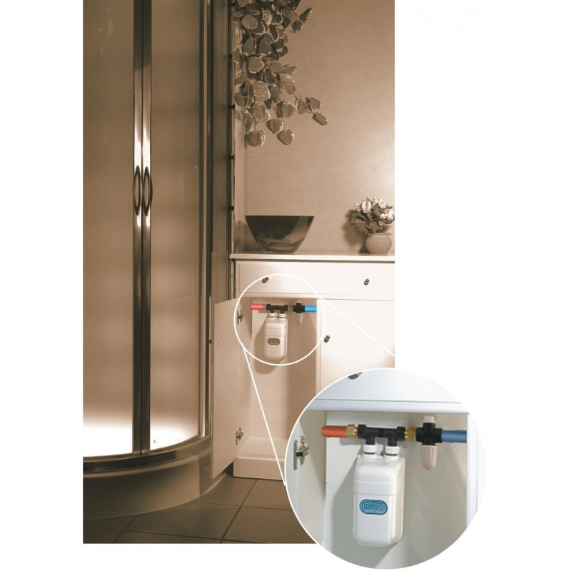 dafi water heater 9 kw 400 v with pipe connector under sink. Black Bedroom Furniture Sets. Home Design Ideas