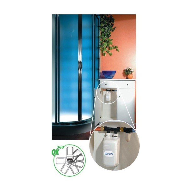 dafi water heater 11 kw 400 v with pipe connector under sink. Black Bedroom Furniture Sets. Home Design Ideas