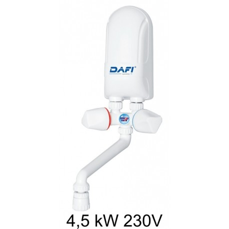 Dafi water heater 4,5 kW 230 V - over sink - Electric Instantaneous Dafi water heater - with plastic tap set