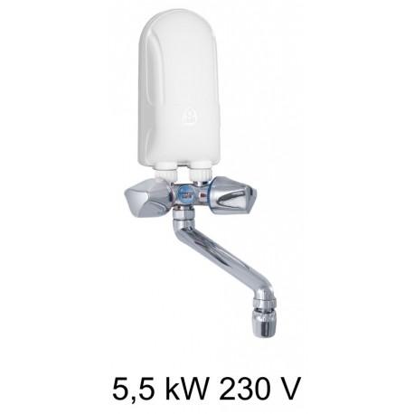 Calentador de agua DAFI de 5.5 kW 230 V (monofásico) con batería de plástico en color cromo