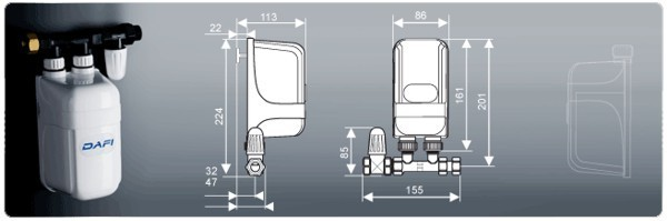 der biphase kleindurchlauferhitzer dafi 11 kw 400 v mit dem anschluss. Black Bedroom Furniture Sets. Home Design Ideas