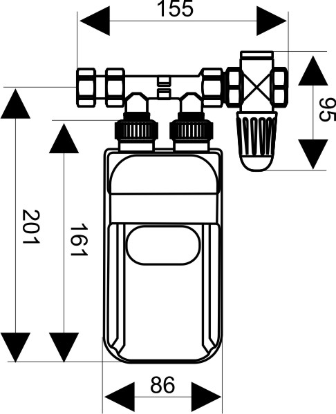 Dimensions of Dafi water heater under sink - front