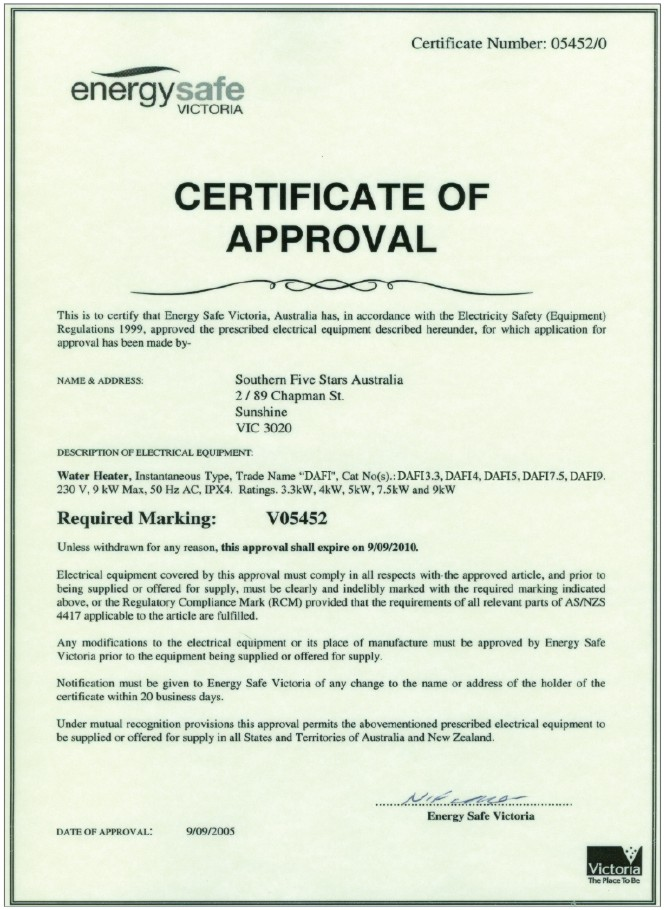 Energy safe certificate for Dafi water heaters