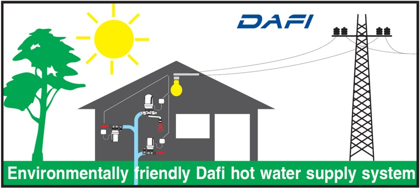 Environmentally friendly Dafi hot water supply system