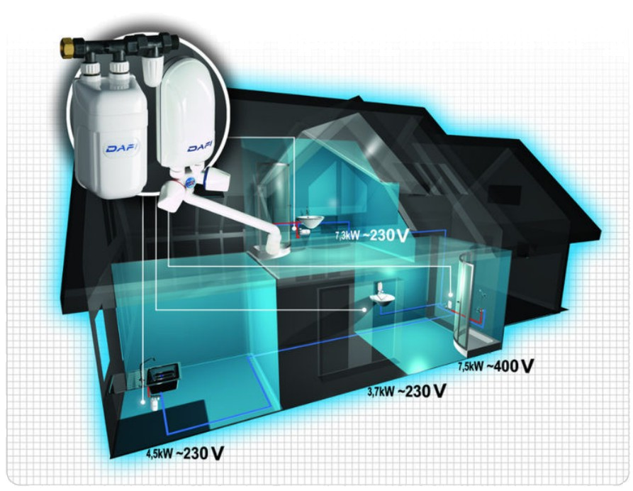 DAFI IN-LINE INSTANT UNDER SINK WATER HEATER TANKLESS ELECTRIC ...