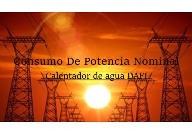 Consumo de potencia nominal Dafi calentadores de agua