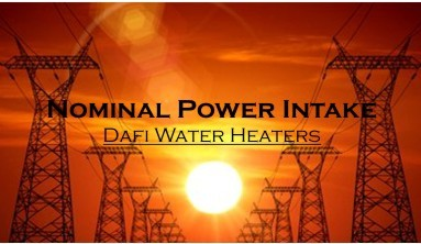 Nominal power intake Dafi water heaters