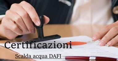scaldacqua Certificati DAFI