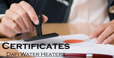 Certificates Dafi water heaters